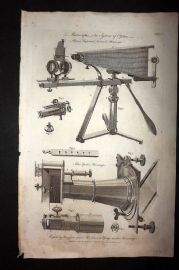 Hall 1789 Antique Print. Microscopes